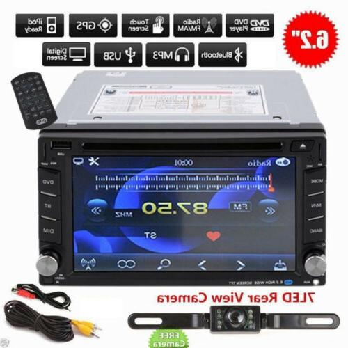 "6.2"" Double 2 DIN Car Radio Stereo HD DVD Player GPS Navigat"