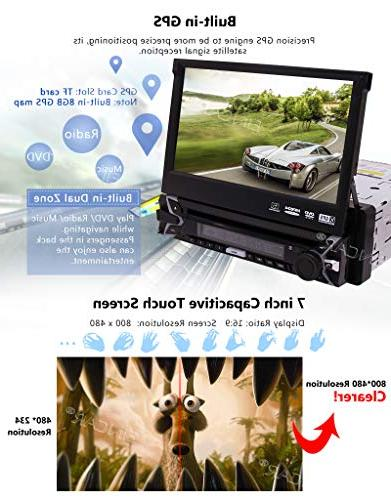 EINCAR Backup Included! inch Retractable Capacitive Touch Screen System 1 Din Car Stereo Support