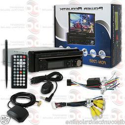 """POWER ACOUSTIK PDN-726B DIN MOTORIZED 7"""" TOUCHSCREEN DVD BLU"""