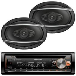 Pioneer Car Bluetooth Stereo Receiver With Pair Of Kicker 6.