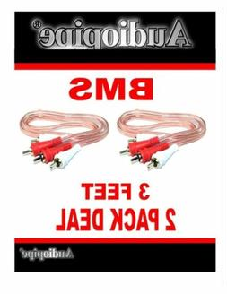 2 Pack 3 Feet 2 RCA Male to 2 RCA Male Stereo Car Audio Inte