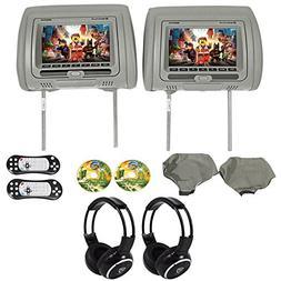 Rockville RVD721-GR 7 Gray Dual DVD/USB/HDMI Car Headrest Mo
