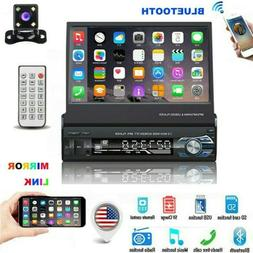 """Single 1 Din 7"""" Flip Stereo Car Radio Player Touch Screen BT"""