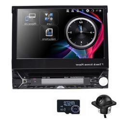 "Single 1 DIN 7"" HD Flip Up GPS NAV Car Stereo CD DVD MP3 Pla"
