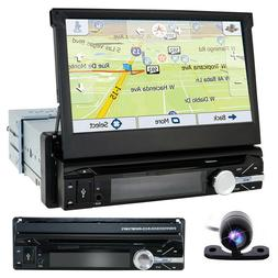 "Single 1DIN Flip-Out 7"" Car Stereo DVD VCD Player GPS/USB/Bl"