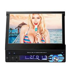 Single DIN in Dash Car Stereo Head Unit w/ 7inch Flip Out To