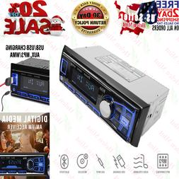Boss Single Din USB AUX Radio Car Stereo Receiver Audio Blue