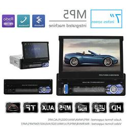 """US Single 1 DIN Flip-Out 7"""" Car Stereo MP5 Player GPS/USB/Bl"""