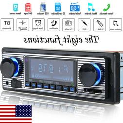US Vintage Car Bluetooth Radio MP3 Player Stereo USB AUX Cla